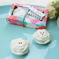 """In Bloom"" Ceramic Flower Salt and Pepper Shakers"