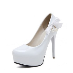 Women's PU Stiletto Heel Pumps Platform Closed Toe With Bowknot Imitation Pearl shoes