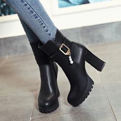 Kvinner Lær Stor Hæl Pumps Platform Støvler med Rhinestone Spenne Glidelås sko (088109410)