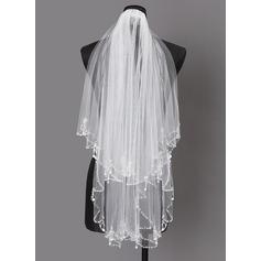 2 couches Bord perlé Voile de mariée longueur coude avec De faux pearl (006203737)