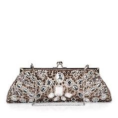 Einzigartige Satin mit Perlen verziert/Pailletten/Strass Handtaschen