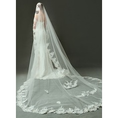 One-tier Cathedral Bridal Veils With Lace Applique Edge (006090092)