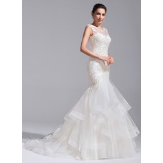 Trumpet/Mermaid Scoop Neck Court Train Tulle Lace Wedding Dress With Cascading Ruffles (002071757)