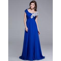 Vestidos princesa/ Formato A Sem o ombro Sweep/Brush trem De chiffon Vestido de festa com Bordado Apliques de Renda