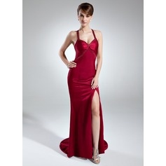 Trompete/Meerjungfrau-Linie Herzausschnitt Sweep/Pinsel zug Charmeuse Abendkleid mit Perlen verziert Schlitz Vorn