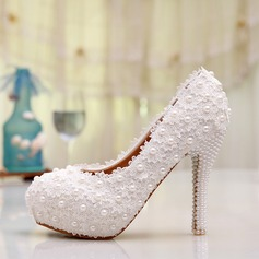Women's Lace Stiletto Heel Closed Toe Pumps (047087234)