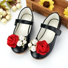 Girl's Closed Toe Microfiber Leather Flat Heel Flats Flower Girl Shoes With Imitation Pearl Velcro Flower