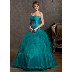 Ball-Gown Strapless Floor-Length Tulle Quinceanera Dress With Beading Cascading Ruffles