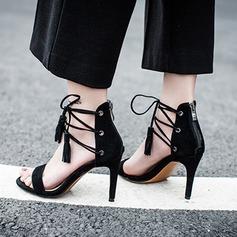 Vrouwen Suede Stiletto Heel Sandalen Pumps Peep Toe met Vastrijgen Tassel schoenen (087118796)