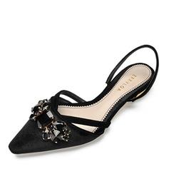 Donna Seta Tacco spesso Sandalo Ballerine Punta chiusa con Cristallo scarpe