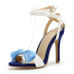 Women's Leatherette Stiletto Heel Sandals Pumps Peep Toe Mary Jane With Bowknot shoes