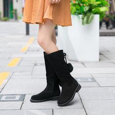 Frauen Veloursleder Flascher Absatz Stiefel-Wadenlang Schneestiefel mit Reißverschluss Zuschnüren Schuhe