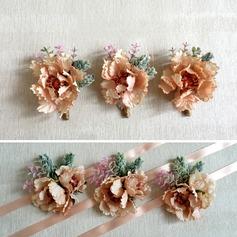 Doux Soie artificielle Sets de fleurs ( ensemble de 2) - Corsage du poignet/Boutonnière
