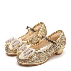 Fille de Bout fermé Glitter mousseux Low Heel Escarpins Chaussures de fille de fleur avec Bowknot Strass