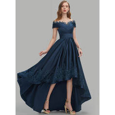 A-Line Scoop Neck Asymmetrical Satin Evening Dress With Sequins Pockets