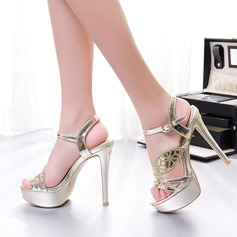 Frauen Funkelnde Glitzer Stöckel Absatz Sandalen Flache Schuhe mit Pailletten Schnalle Schuhe