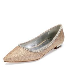 Vrouwen Sprankelende Glitter Flat Heel Flats met Strass Lovertje Sprankelende Glitter