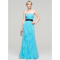 Vestidos princesa/ Formato A Sem Alças Longos Tecido de seda Vestido de festa com Curvado Babados em cascata