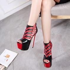 De mujer Cuero Tacón stilettos Botas Encaje Botas al tobillo con Agujereado zapatos