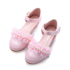 Girl's Closed Toe Silk Like Satin Low Heel Pumps Flower Girl Shoes With Imitation Pearl Velcro Ruffles Flower