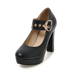Frauen PU Stämmiger Absatz Absatzschuhe Plateauschuh Geschlossene Zehe mit Kristall Schnalle Schuhe