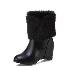 Donna Similpelle Zeppe Stiletto Zeppe Stivali altezza media con Pelliccia scarpe