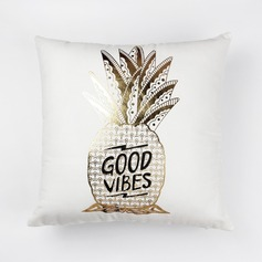 Gilding Printing Pineapple Plush Pillowcases (Sold in a single piece)