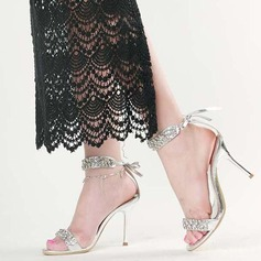 Women's Leatherette Stiletto Heel Sandals Peep Toe With Crystal Lace-up shoes (087113614)