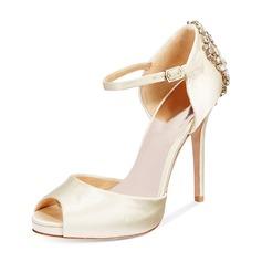 Women's Silk Like Satin Stiletto Heel Peep Toe Platform Pumps With Buckle