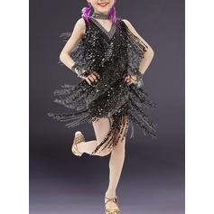 Детская обувь Одежда для танцев Спандекс Латино Платья