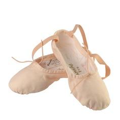 Женщины Холст На плокой подошве Балет с развальцовка Обувь для танцев