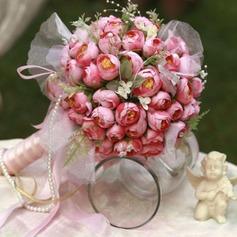 Увлекательные Круглый Атлас Свадебные букеты -
