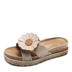 Женщины кожа Плоский каблук Сандалии На плокой подошве Открытый мыс Босоножки Тапочки с Цветок обувь