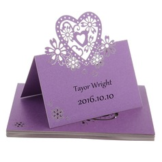 Nice Heart Shaped Pearl Paper Place Cards (set of 12)