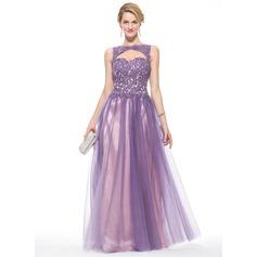 Vestidos princesa/ Formato A Decote redondo Longos Tule Renda Vestido de baile com Beading lantejoulas