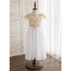 Forme Princesse Longueur mollet Robes à Fleurs pour Filles - Mousseline/Dentelle Sans manches Col rond avec Dentelle/Ceintures