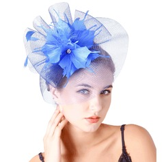 Dames Mooi Feather/Netto garen met Feather Fascinators/Theepartij hoeden