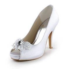 Frauen Satiniert Kegel Absatz Peep Toe Plateauschuh Sandalen mit Straß