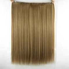 Rakt syntetiska hår Klämma i hårförlängningar (Säljs i ett enda stycke) 80g