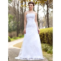 A-Line/Princess Strapless Sweep Train Lace Wedding Dress With Ruffle