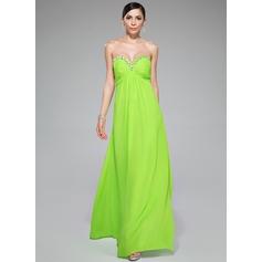 Império Amada Longos Tecido de seda Vestido de festa com Pregueado Beading lantejoulas