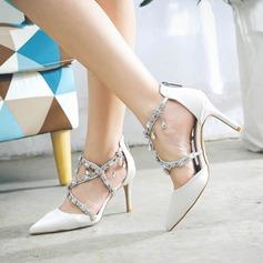 Women's Silk Like Satin Stiletto Heel Closed Toe Pumps Sandals With Rhinestone Chain