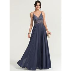 A-Line/Princess V-neck Floor-Length Chiffon Prom Dresses With Beading