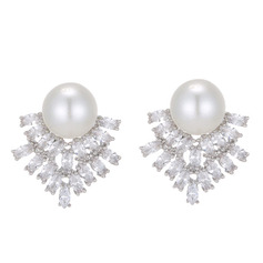 Ladies' Elegant Copper/Zircon/Imitation Pearls Imitation Pearls Earrings For Bride/For Bridesmaid/For Mother/For Friends/For Couple