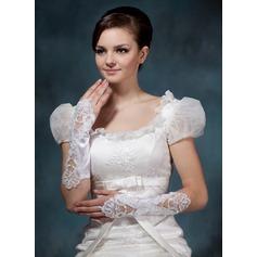 Satén elástico Codo Largo Guantes de novia (014020519)