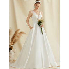 Ball-Gown/Princess V-neck Sweep Train Satin Lace Wedding Dress With Pockets (002234913)