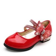 Mädchens Geschlossene Zehe Leder Flache Ferse Flache Schuhe Blumenmädchen Schuhe mit Bowknot Strass Klettverschluss