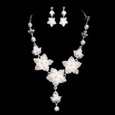 Lindo Liga/Pérola com Strass Senhoras Conjuntos de jóias