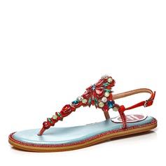 Kvinnor Äkta läder Flat Heel Sandaler Platta Skor / Fritidsskor Peep Toe Slingbacks med Strass Blomma skor