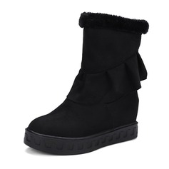 Femmes Suède Talon plat Compensée Bottines avec Plissé chaussures